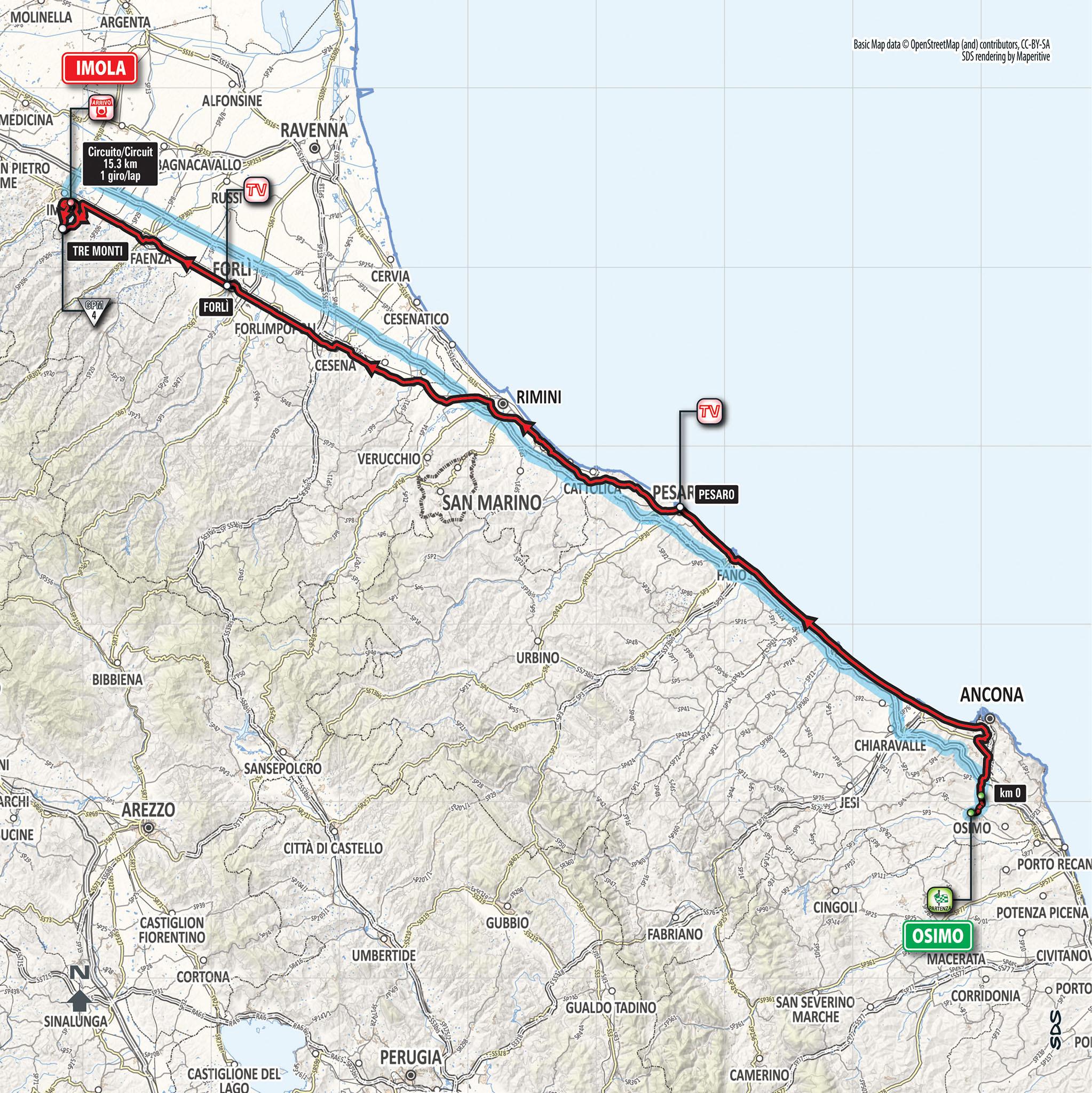 Giro 2018 tappa 12 planimetria