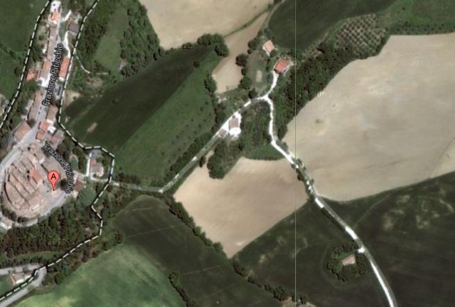 Lageplan A= Ort  Haus links von Sandstraße unten rechts, umrahmt von Bäumen